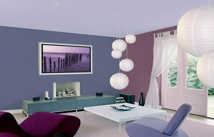D co salon gris et violet - Decoration salon mauve et gris ...