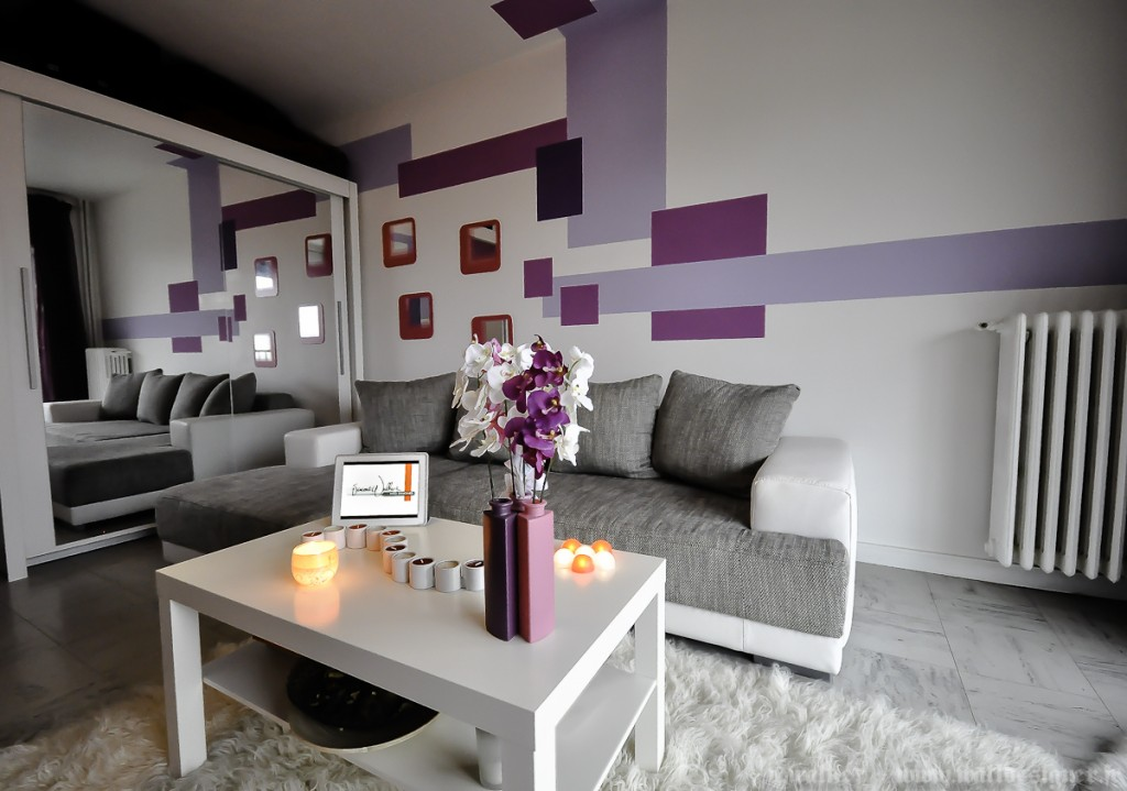 mod le d co salon gris et violet