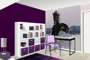 Nouvelle d coration chambre fille gris et violet - Chambre a coucher noir et gris ...