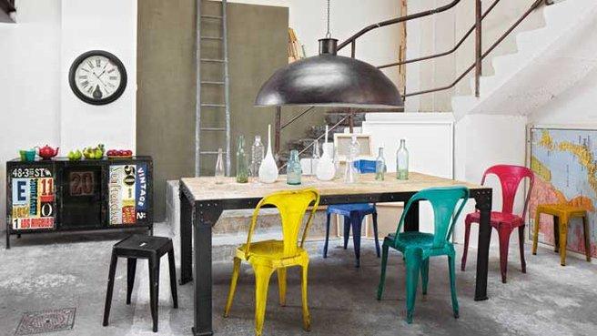Style d coration salle manger industriel for Salon salle a manger style industriel