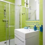 décoration salle de bain vert