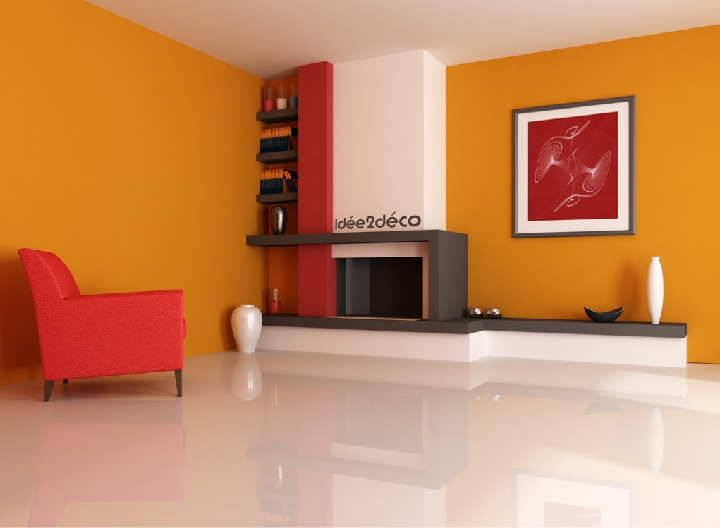 Style d coration salon orange for Decoration maison orange