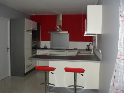 D co cuisine rouge et gris design d 39 int rieur et id es for Photo deco cuisine rouge