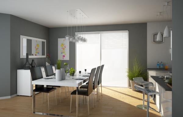 Mod le id e d co salle manger gris et blanc for Salon salle a manger blanc et gris