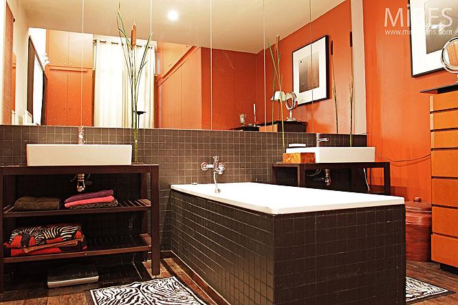 conseil idée déco salle de bain orange