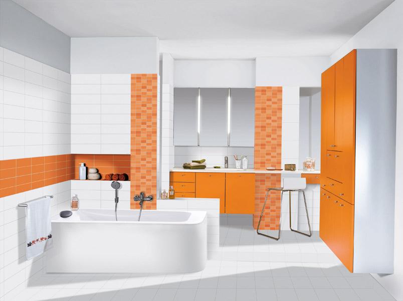 jolie idée déco salle de bain orange