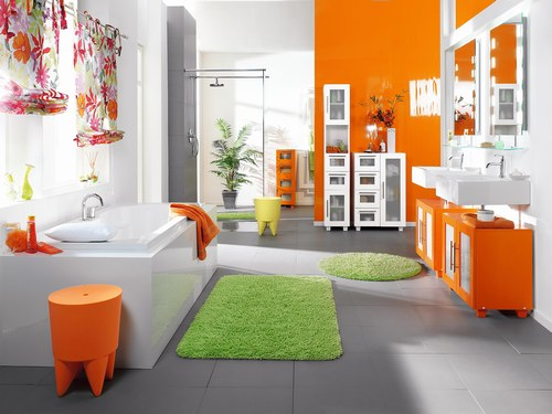 Mod le id e d co salle de bain orange for Idee decoration chambre de bain