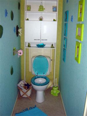 idée déco wc - toilettes bleu