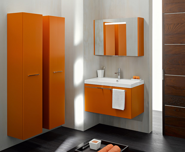 inspiration ambiance salle de bain orange. Black Bedroom Furniture Sets. Home Design Ideas