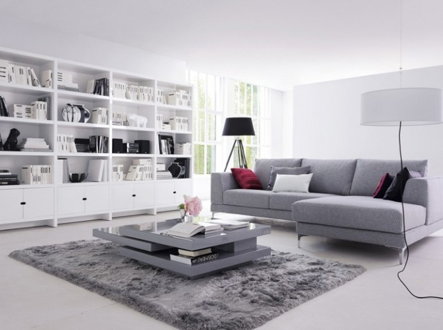 Photo ambiance salon gris et blanc - Decoration salon gris et blanc ...