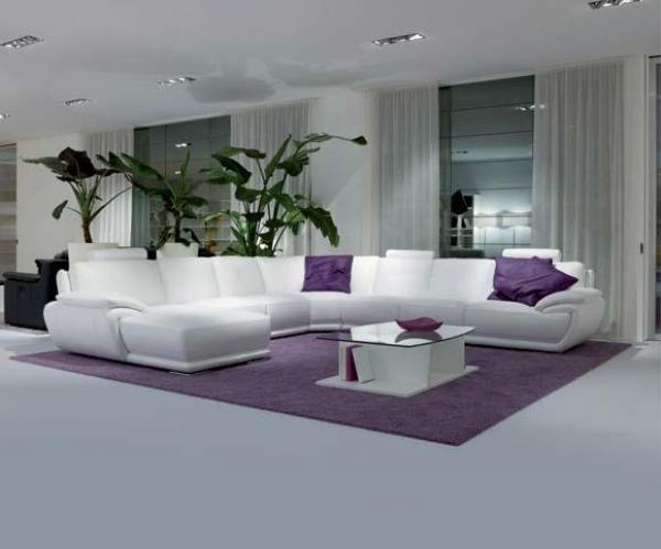 jolie ambiance salon gris et violet. Black Bedroom Furniture Sets. Home Design Ideas