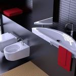 ambiance wc - toilettes gris et rouge