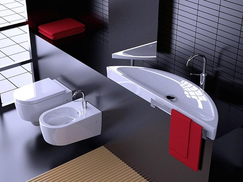 Nouvelle ambiance wc toilettes gris et rouge for Deco wc gris