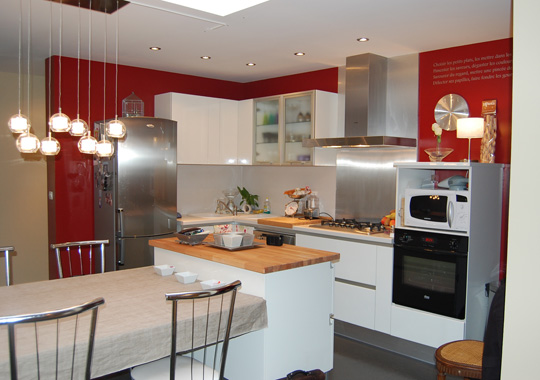 Mod le d co cuisine rouge for Modele deco cuisine