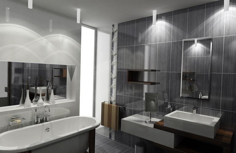 Jolie d co salle de bain gris et blanc - Deco salle de bain gris et blanc ...