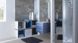 déco salle de bain gris et violet