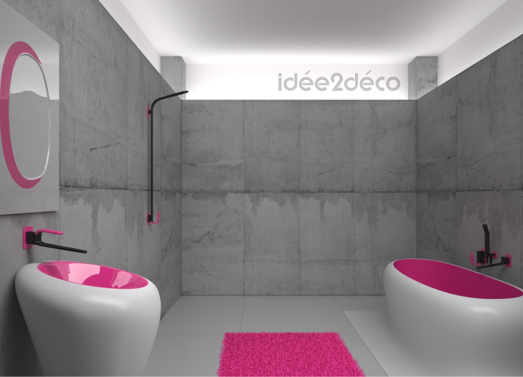 Photo d co salle de bain gris et violet for Deco violet et gris