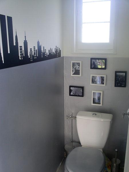 déco wc - toilettes gris et violet