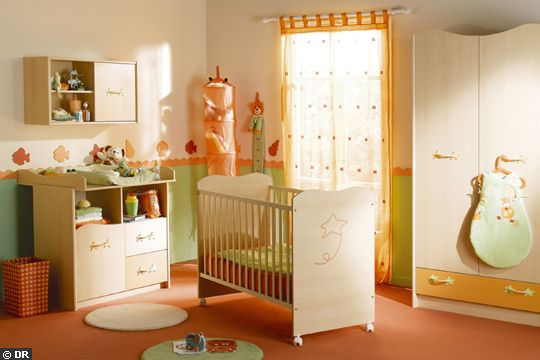 Style d coration chambre b b orange for Chambre bebe style anglais