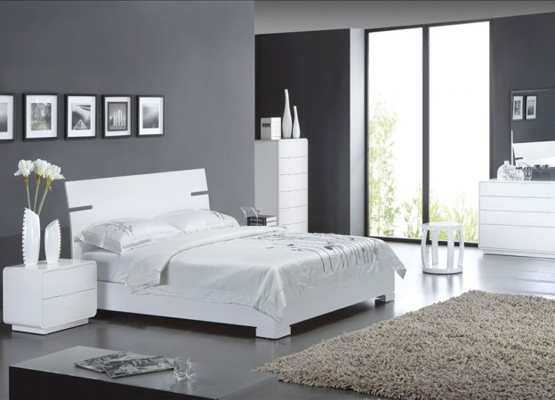 d coration chambre gris et blanc. Black Bedroom Furniture Sets. Home Design Ideas