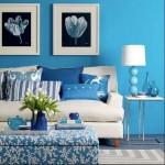 décoration salon bleu