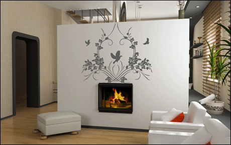 d coration salon stickers. Black Bedroom Furniture Sets. Home Design Ideas