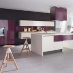 idée déco cuisine gris et violet