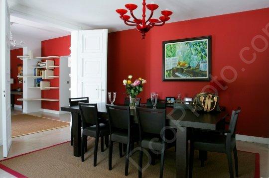 Id e d co salle manger gris et rouge for Salle a manger noir et rouge