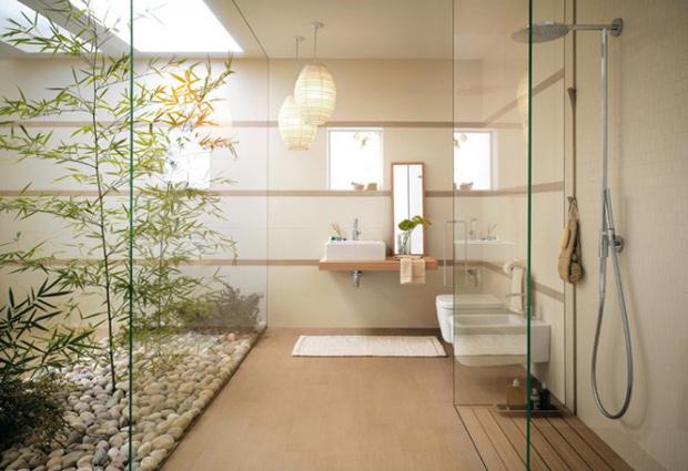 photo idée déco salle de bain beige