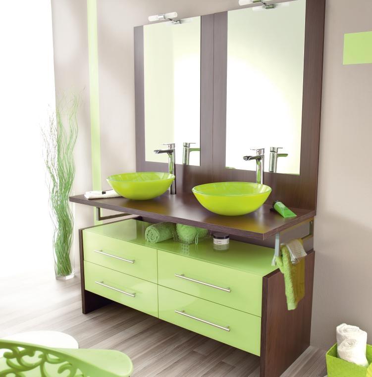Inspiration id e d co salle de bain vert for Idee salle de bain deco