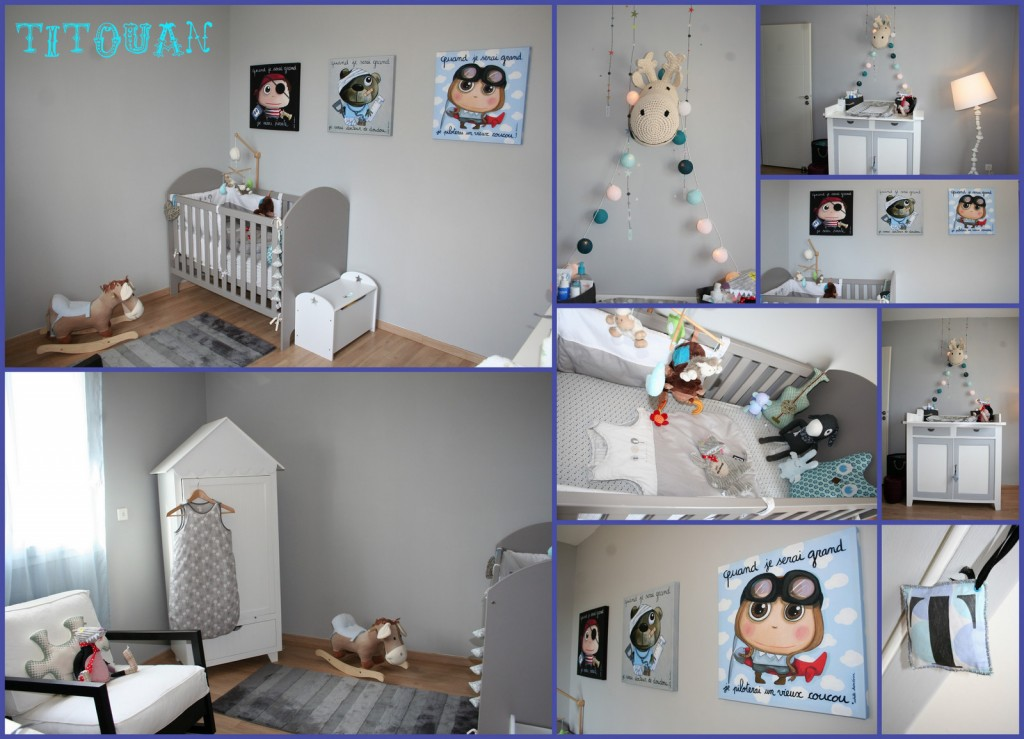 Photo d co chambre b b gris et rouge for Deco chambre bebe gris
