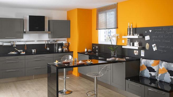 Inspiration d co cuisine orange - Cuisine orange et gris ...