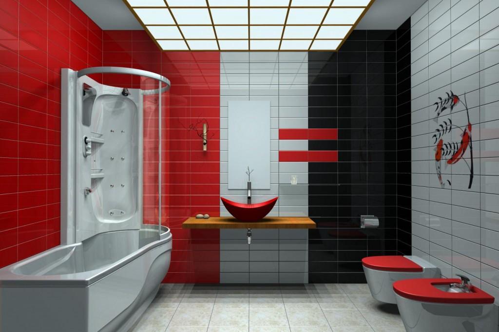 Mod le d co salle de bain rouge for Deco salle de bain rouge
