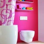 déco wc - toilettes rose