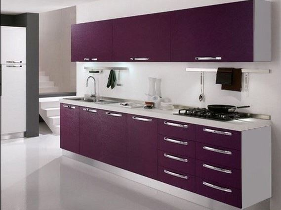 Nouvelle d coration cuisine violet for Salle de bain aubergine et blanc