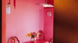 décoration salle à manger rose