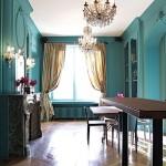 décoration salle à manger turquoise