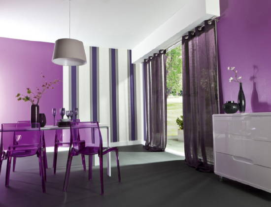 Jolie d coration salle manger violet for Decoration salon prune