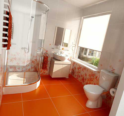 Inspiration d coration salle de bain orange for Decor salle de bain