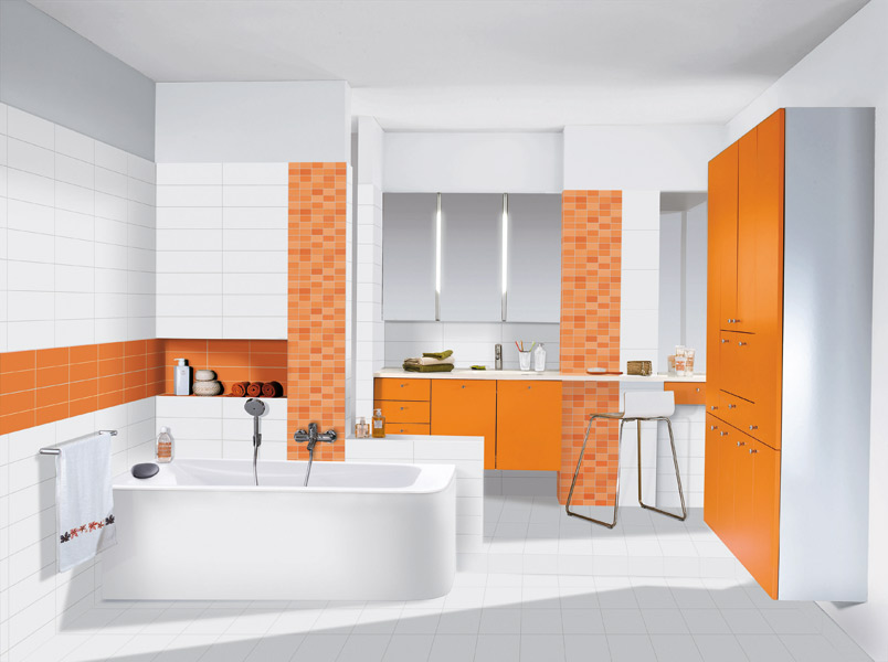 d coration salle de bain orange. Black Bedroom Furniture Sets. Home Design Ideas