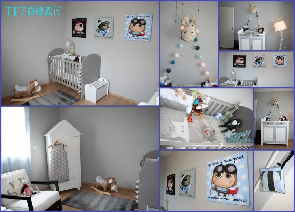 idée déco chambre garçon gris et blanc