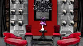 idée déco salon gris et rouge