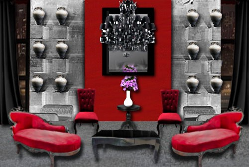 id e d co salon gris et rouge. Black Bedroom Furniture Sets. Home Design Ideas