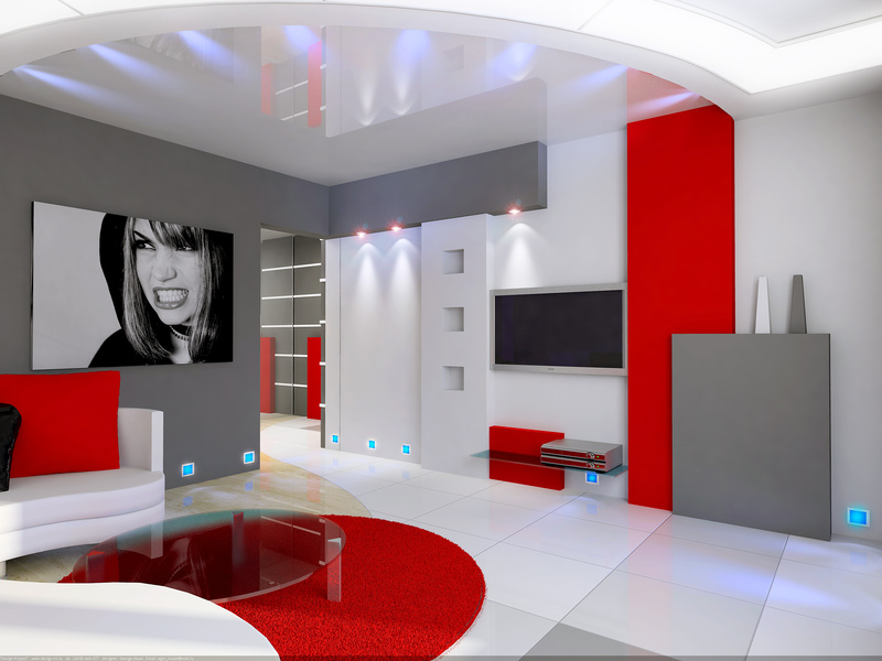 Photo id e d co salon gris et rouge - Idee salon gris ...