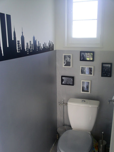 Id e d co wc toilettes gris - Idees deco toilettes photos ...