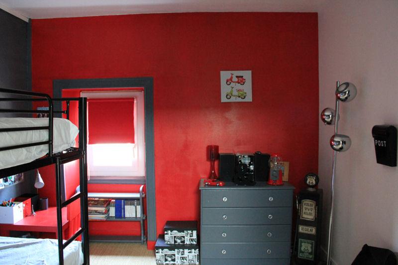 D co chambre gris et rouge - Chambre garcon rouge ...