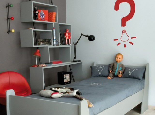 style ambiance chambre garçon gris et rouge