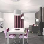 décoration salle à manger gris et violet