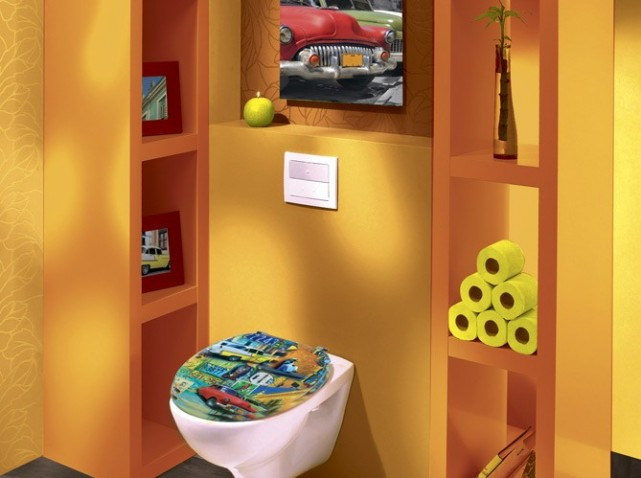 Jolie d coration wc toilettes jaune for Photo deco wc