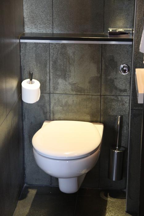 Jolie id e d co wc toilettes gris et blanc - Deco wc gris ...